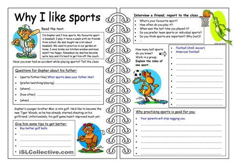 four skills worksheet why i like sports learning
