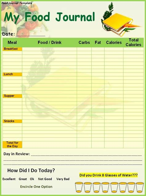 Food And Exercise Diary Template by Food Diary Template Printable Food Journal Template
