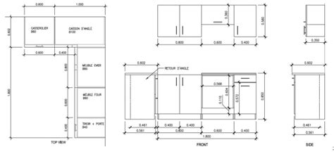 hauteur des meubles de cuisine meuble de cuisine dimension cuisine en image