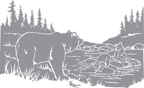 Glass Etching Stencil Of Bear And Cubs Around A Pond. In
