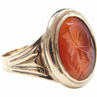 Intaglio Carnelian Gold 10k Ring Gents Jewelers
