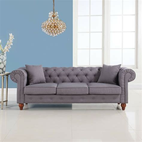 grey classic linen fabric tufted button chesterfield style