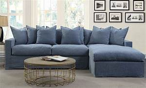 Aria palmero sectional sofa with chaise the dump luxe for Red denim sectional sofa