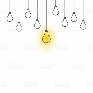 Light Bulbs Hanging Down Illustration On White Background ...