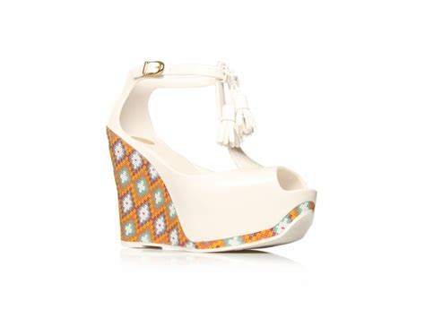 melissa peace wedges  white lyst