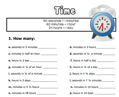 converting units of time this freebie is a worksheet