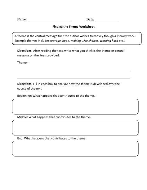 images  determining theme worksheets theme worksheets  grade reading theme