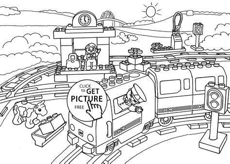Lego Train Station Coloring Page For Kids, Printable Free