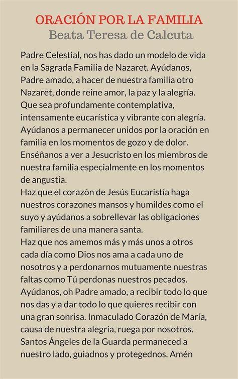 oracion por la familia de la beata teresa de calcuta