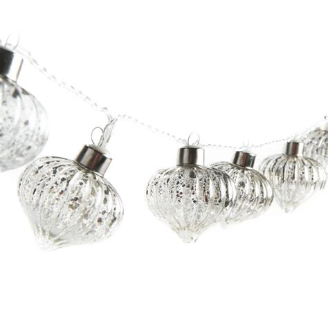 lighted christmas ornament garland silver mercury glass ornament led light garland