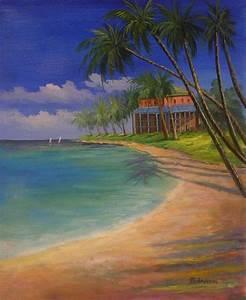 Tableaux Mer Et Plage : peinture plage antilles sur toile tableau peint huile ~ Teatrodelosmanantiales.com Idées de Décoration