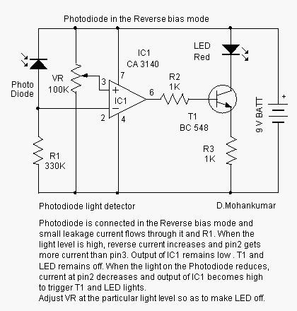 photodiode light detector circuit photodiode design note