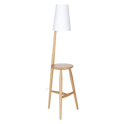 White Floor Ls With Table Attached by Wallace Oak Floor L And Table With White Shade Buy
