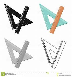Ruler And Triangle  Devices For School Drawing School And Education Single Icon In Cartoon Style