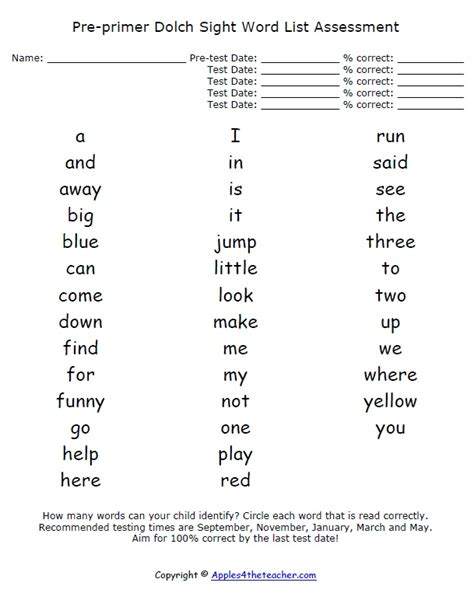 dolch primer pre primer dolch sight word list assessment preschool