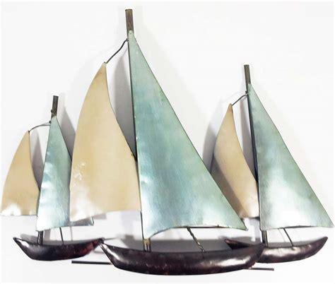 Sailboat Wall Decor Metal by Metal Wall 3 Sail Boats At Sea