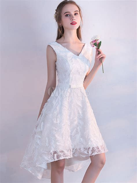 white prom dresses  short lace homecoming dress  neck