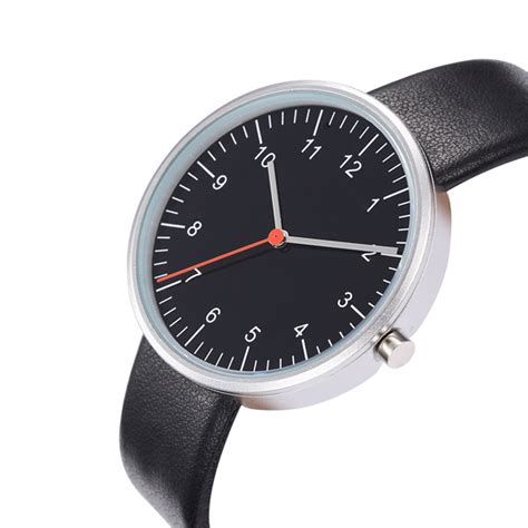 Black Dial Face Watch Leather Band Red Second Hand