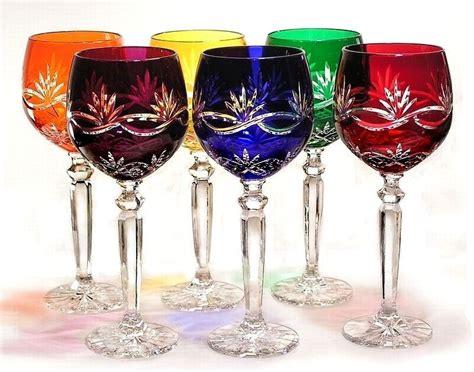 great price hand cut multi colored stemware