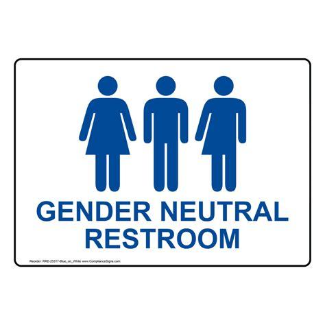 Gender Neutral Bathroom Signs by Gender Neutral Restroom Sign Rre 25317 Bluonwht Restrooms