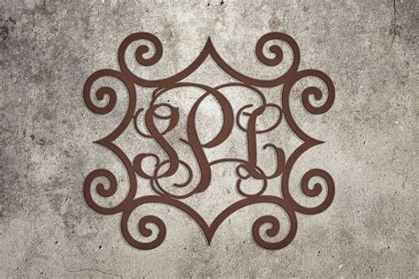 wrought iron inspired rectangular wall art   monogrammed initials  indoor  outdoor