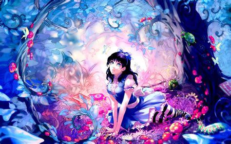 Blue Cherry Blossom Wallpaper Alice Alice In Wonderland Hd Wallpaper Stylishhdwallpapers