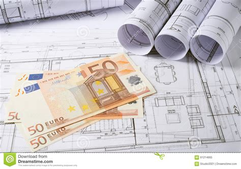 Home Design Unlimited Money : Architecture Plans With Money Stock Image