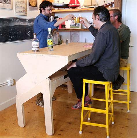 mesa de trabajo transformable en barra de bar  decoracion