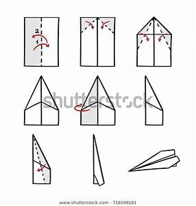 How Make Paper Airplane Instruction Isolated Stock Vector