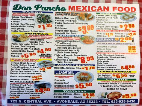 menu cuisine az don pancho food menu menu for don pancho