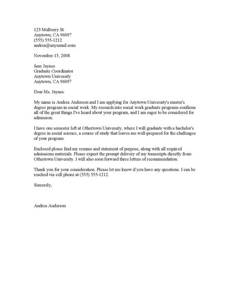 School Cover Letter by Graduate School Application Cover Letter Sle Resume