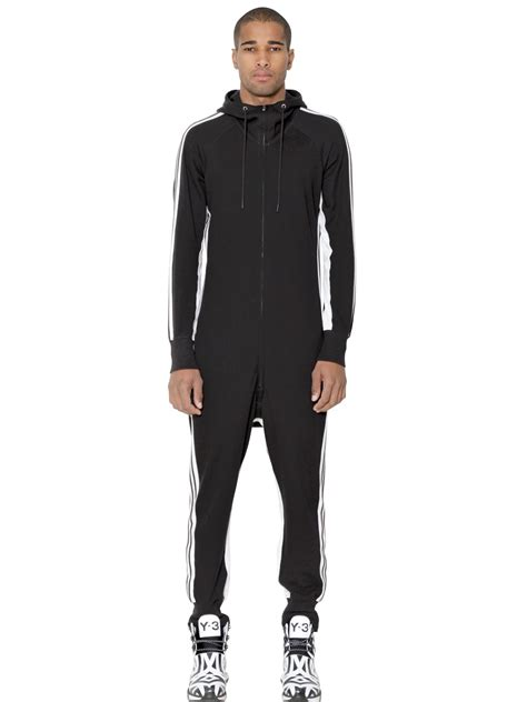 jumpsuit mens y 3 cotton blend jumpsuit in black for lyst