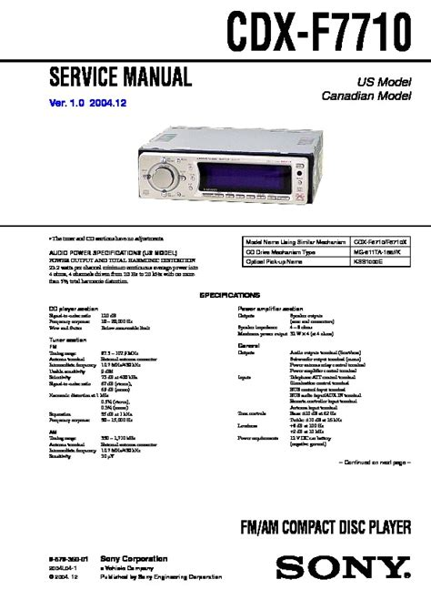 sony cdx f7710 service manual free