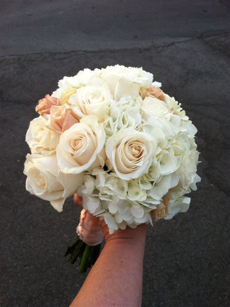 Sahara and Ivory Roses with White Hydrangea Bouquet