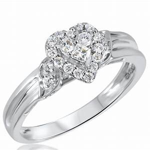 1 3 ct tw diamond women39s bridal wedding ring set 10k With images of white gold wedding rings
