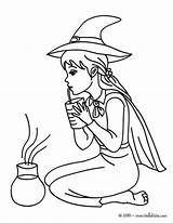 Potion Coloring Witch Pages Sorceress Tests Halloween Hellokids Lovely Testing sketch template