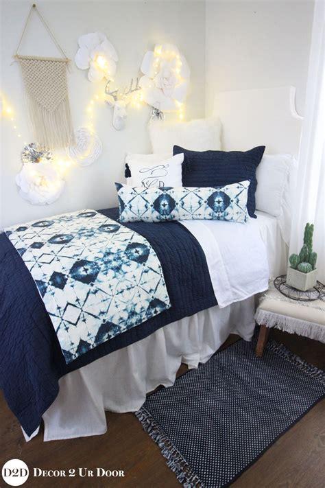 navy white ombre tribal designer bedding