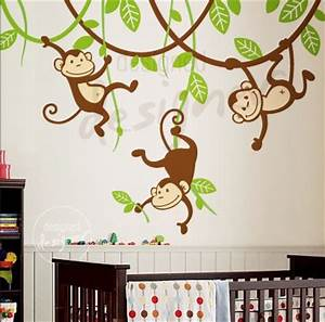 cute monkey bedroom wall decal mural ideas for kids With monkey wall decals