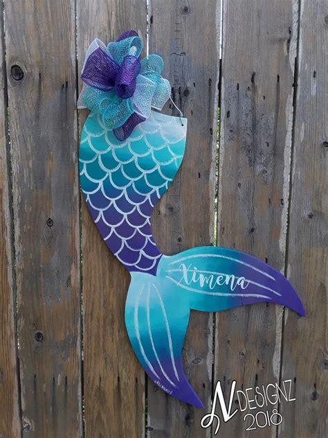 mermaid tail wooden door hanger  images wooden