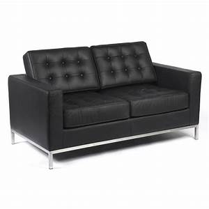 Two seater knoll style black leather sofa groovyhomecouk for Black leather sectional sofa uk