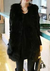 Manteau Fourrure Sans Manche : mi long manteau en fourrure sans manches femme mode hiver ~ Dallasstarsshop.com Idées de Décoration