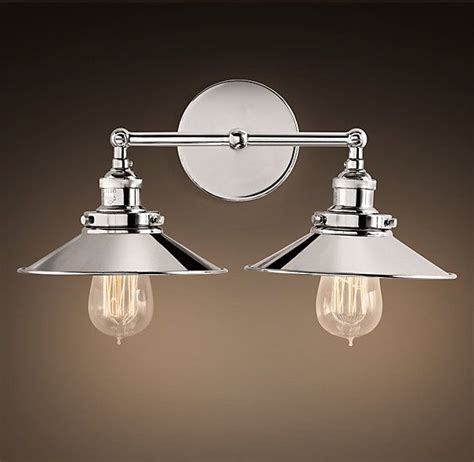 20th c factory filament metal double sconce green residence bathroom light fixtures