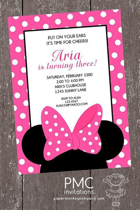 pink  white dots minnie mouse birthday invitation