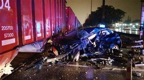 car struck  train  stalling  tracks  hollywood