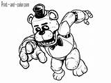 Coloring Golden Freddy Nights Five Freddys Template sketch template