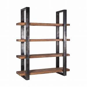 Etagere Metal Et Bois : meuble biblioth que bois et m tal 4 tag res mango ~ Teatrodelosmanantiales.com Idées de Décoration