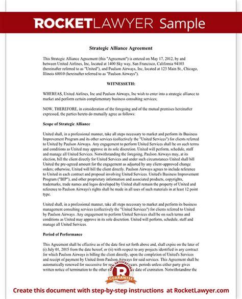 strategic alliance agreement template strategic
