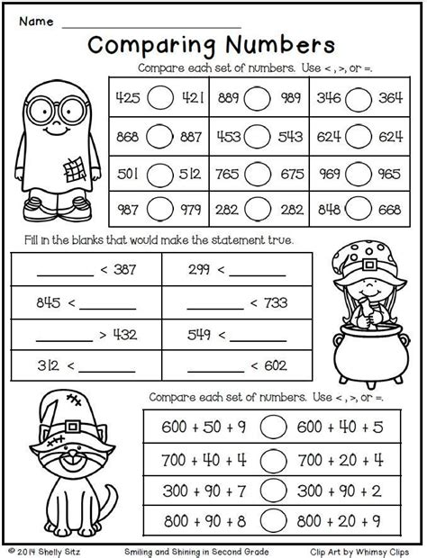 halloween math for second grade comparing numbers free