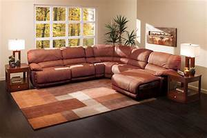 The cloud ii 6 pc sectional living room by sofa mart for Leather sectional sofa mart