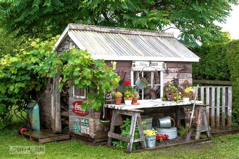 rustic garden sheds rustic shed reveal with sawhorse potting bench and old rake sign for garden toolsfunky junk
